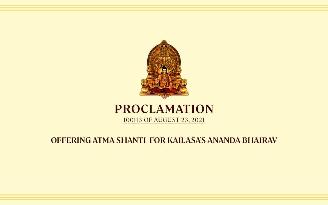 Offering Atma Shanti  For Kailasa's Ananda Bhairav